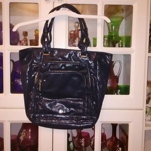Navy blue shimmery tote bag